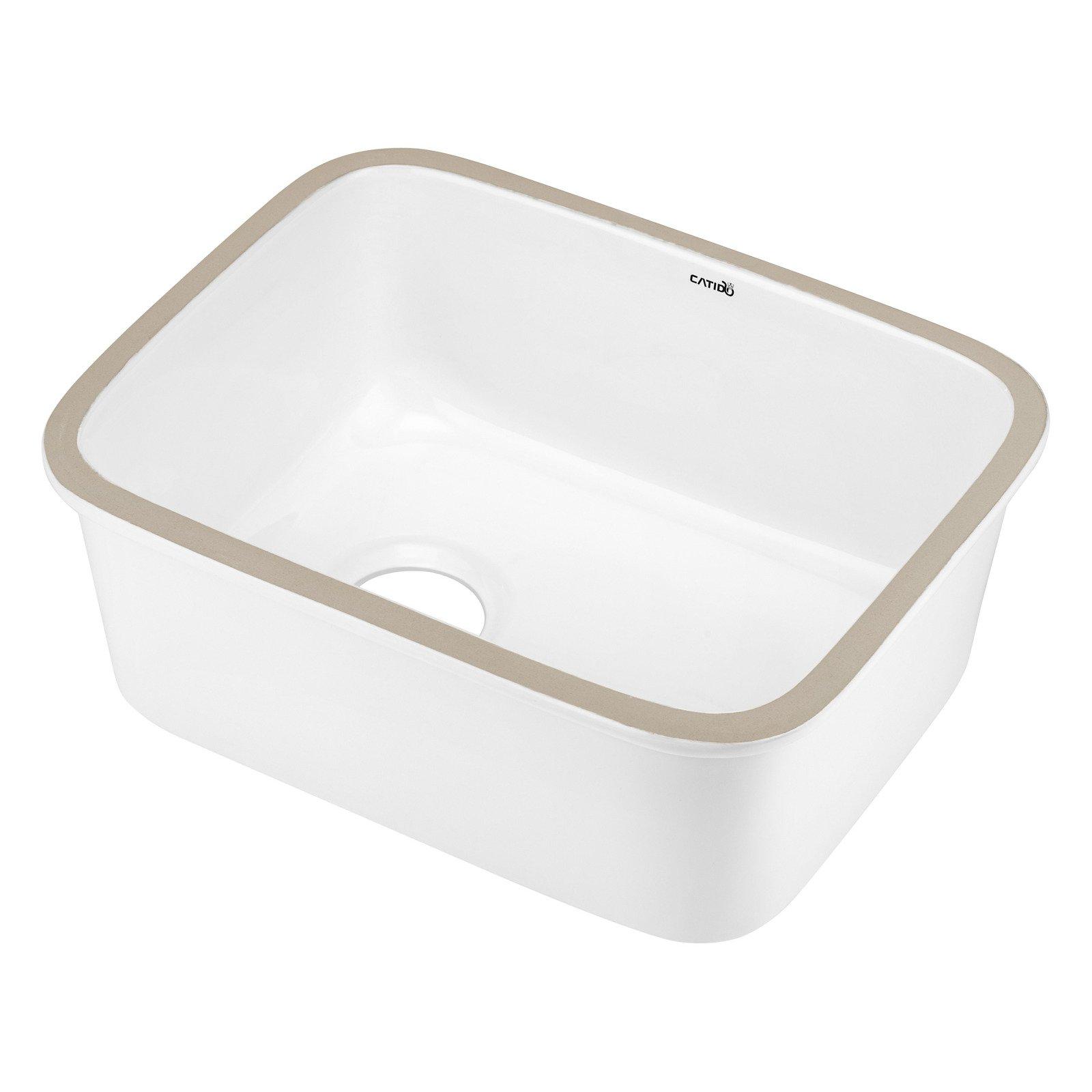 Zlewozmywak Kuchenny Ceramiczny Jednokomorowy Podwieszany Biały Catido Nova Sl55 55 Cm
